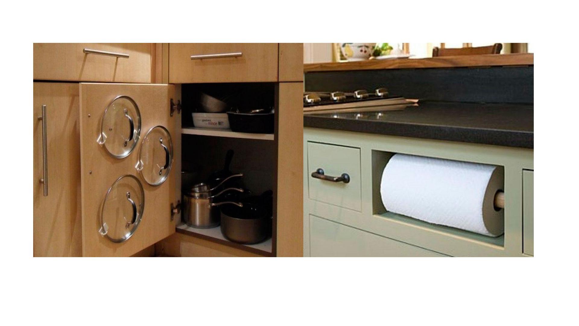 Idea genial para tener en orden las tapas y los rollos de - Papel para cocinas ...
